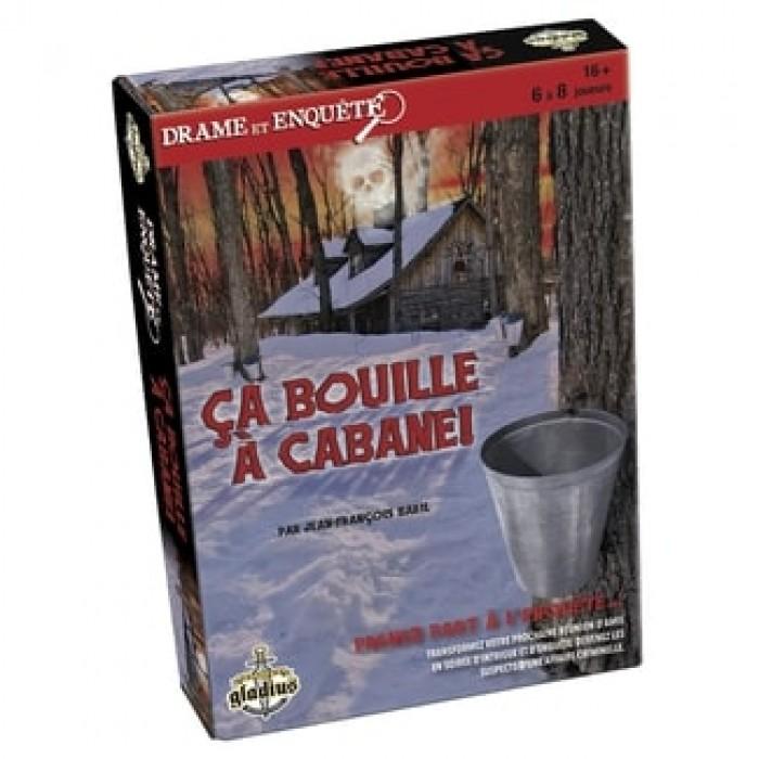 Drame et enquête:Ça bouille à cabane! est un jeu de meurtre et mystèrepour 16ans et plus - Franc Jeu Repentigny