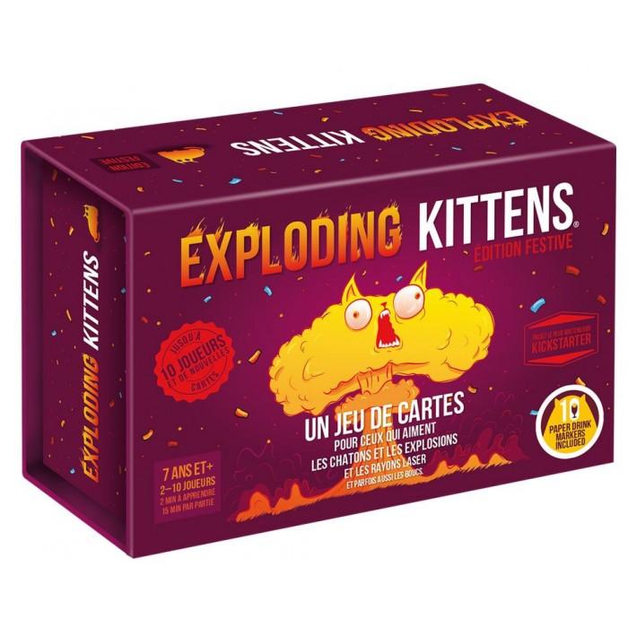Exploding Kittens festive est une version des meilleurs cartes d'Exploding Kittens de 2 à 10 joueurs pour 7 ans et plus- Franc Jeu Repentigny