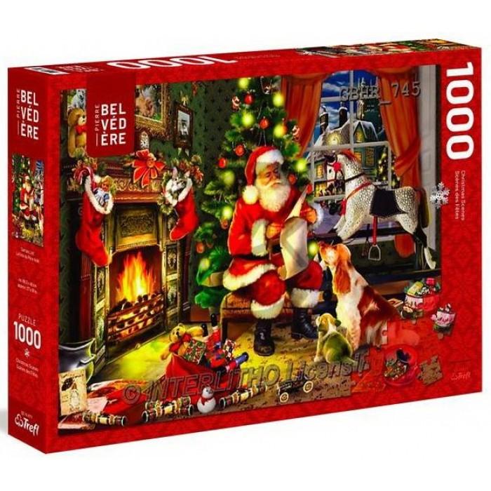 Père Noël dans le salonest un casse-tête 1000 pièces desfêtes de Trefl - Franc Jeu Repentigny