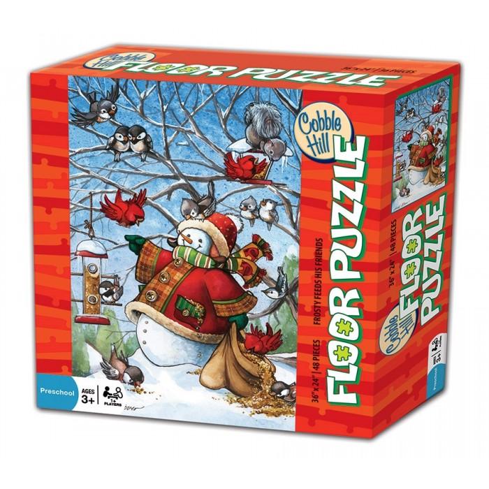 Casse-tête de plancher Cobble Hill de 48 pièces pour enfants: Frosty Feeds His Friends