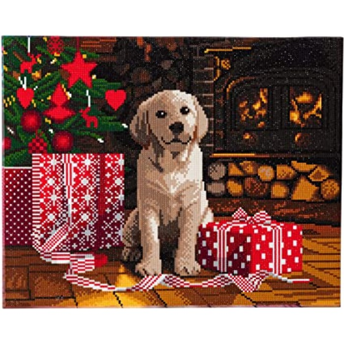 Labrador Puppy est une peinture de diamants pré-encadrée de la compagnie Craft Bubby - Franc Jeu Repentigny
