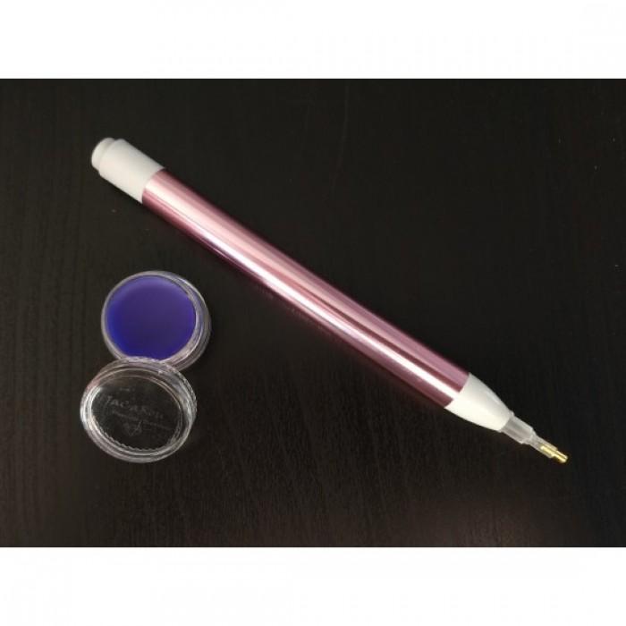 Peinture de diamants : Ensemble stylet lumineux rose et cire parfumée (accessoire) - Jacarou