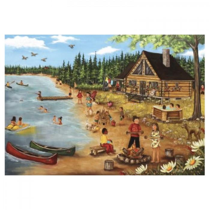 Casse-tête Trefl 1000 pcs pour adultes : L'été au chalet en bois rond (de l'artiste québécoise Christine Genest) - Franc Jeu Repentigny