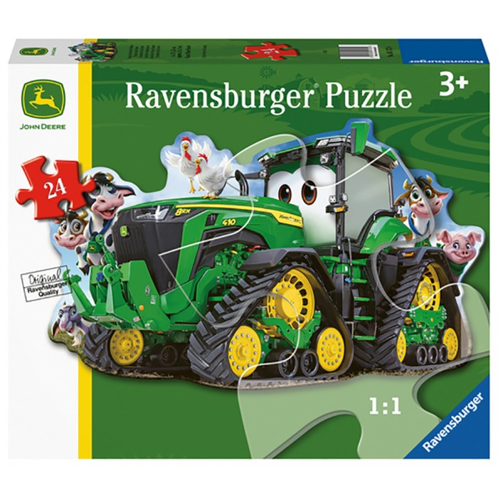 Casse-tête de plancher de 24 pièces pour enfants de 3 ans + de la forme d'un tracteur John Deere - Franc Jeu Repentigny
