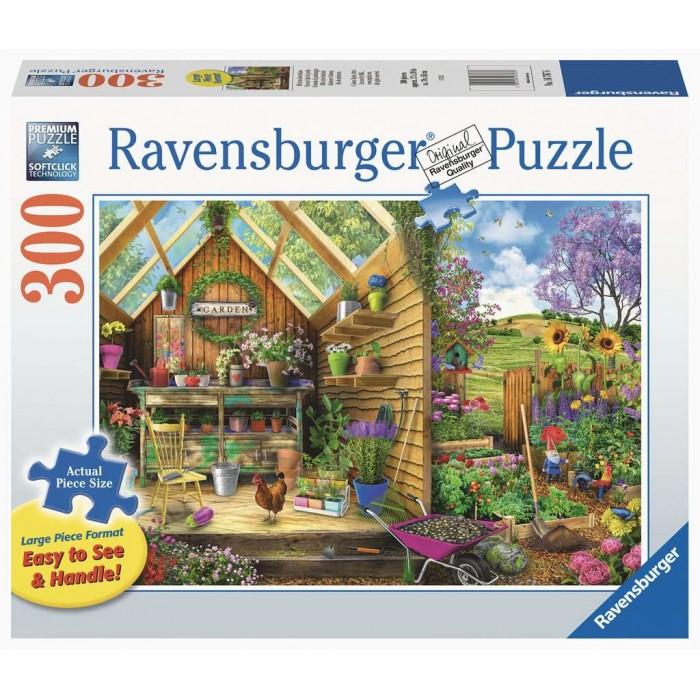 Casse-tête Ravensburger 300 larges pièces parfaites pour une manipulation facile:Vue sur l'abri de jardin - Franc Jeu Repentigny